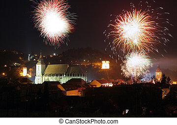 Fireworks in old town Brasov, Romania