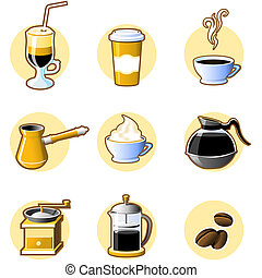 Nine coffee icons -  coffee-beans, cup and other