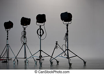 Four Studio Lights in Studio with White Background