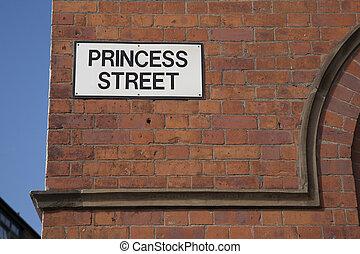 Princess Street Sign, Manchester; England; UK