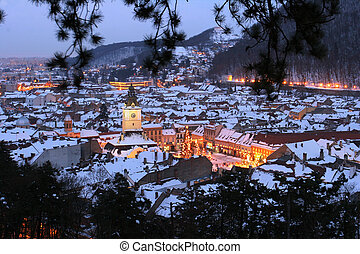 Night view of Brasov city, old town, Romania