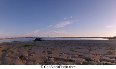 Ria Formosa -Fuseta Sunset 010 Time - Pan time-lapse at...