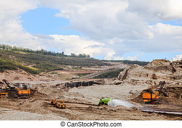 Quarry - The heavy equipment working in quarry at lampang,...