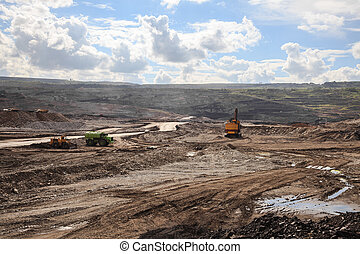 Lignite mine - Working site at lignite mine in lampang,...