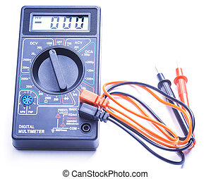 Digital multimeter on white background - Digital multimeter...