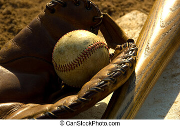 Vintage baseball on base - Vintage baseball with bat on home...