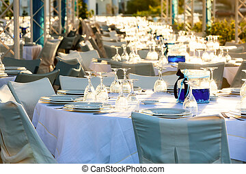 Table set at wedding reception
