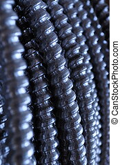 Electrical Conduit - Close-up view of silver electrical...