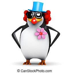 3d Penguin clown - 3d render of a penguin dressed as a clown