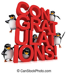 3d Penguin Congratulations - 3d render of penguins on the...