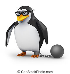 3d Penguin dragging a ball and chain - 3d render of a...