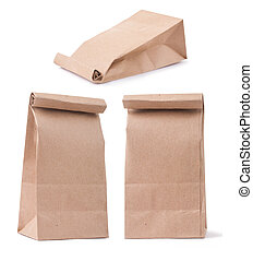set of classical brown paper bag in three different...