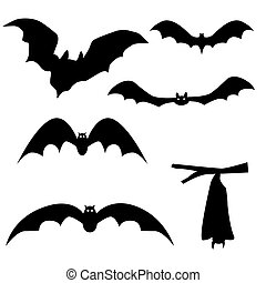 Collection of bats isolated on white background, vector