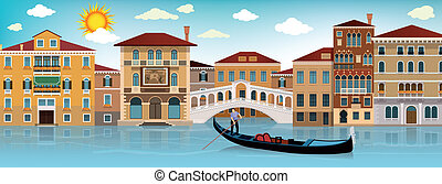 In Venice - Vector illustration of Venice town (street on...