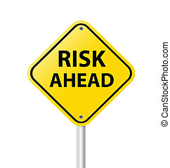 yellow road sign as a warning of risk ahead vector illustration