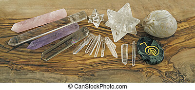 Crystal Healers Tools on Olive woo - Selection of Crystal...