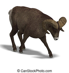 big horn sheep aries - an aries ram with twisted horns 3D...