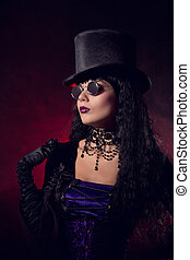 Vampire gothic girl in tophat and round eyeglasses - Vampire...