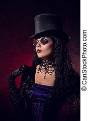 Vampire gothic girl in tophat and round eyeglasses - Vampire...