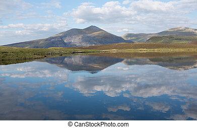 Llyn Dwythwch reflections - Llyn Dwythwch with the...