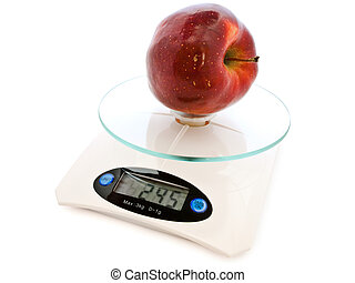 apple at scale - photo of the apple at electronic scales...