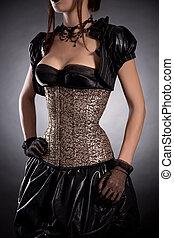 séduisant, jeune, femme, dans, Victorien, Style,...