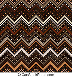 Zig zag pattern with lines and dots in brown tones