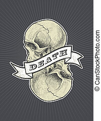 death sign with ribbon and skull vector eps8