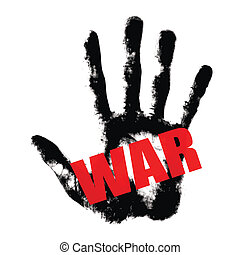 War red text on black hand print Stop war con concept