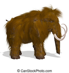 Mammoth - Rendering of a Mammoth with Clipping Path and...