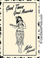 Hula Girl - Illustration of hula girl playing ukulele