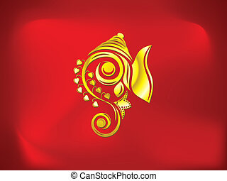 abstract artistic golden ganesha background vector...