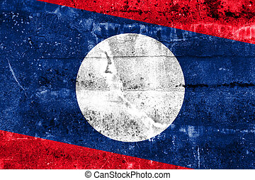 Laos Flag painted on grunge wall