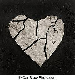 cassé, coeur, typon