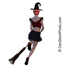 Witch on Broomstick - Digitally rendered image of a...