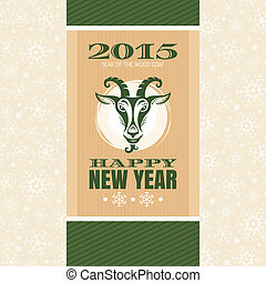 New year greeting card with goat vector illustration