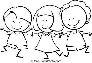multicultural children coloring page - Black and White...