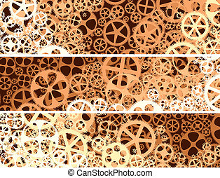 Abstract banners of gear wheels.