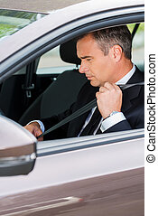 Fastening his seat belt. Confident mature businessman fastening seat belt while sitting in his car