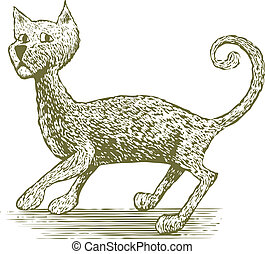 Woodcut Cat Drawing