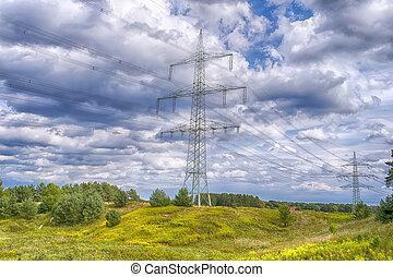 Electricity poles, landscape