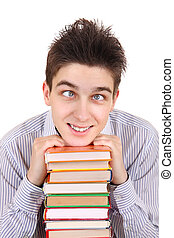 Funny Teenager with the Books Isolated on the White