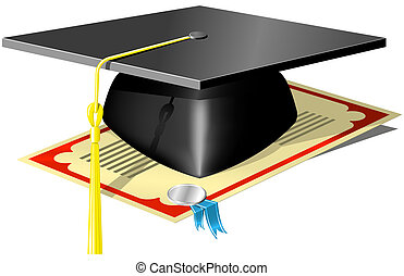 Graduation Mortar Board and diploma with seal and ribbon