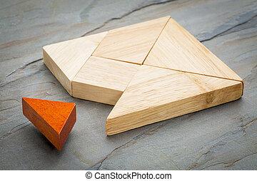 tangram, elveszett, darab