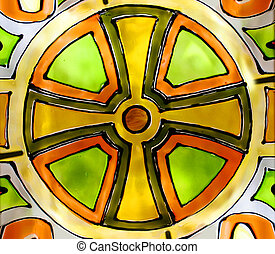 Colorful stained glass - Abstract Cross on a colorful...