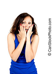 Beautiful young surprised woman looking at camera Isolated...