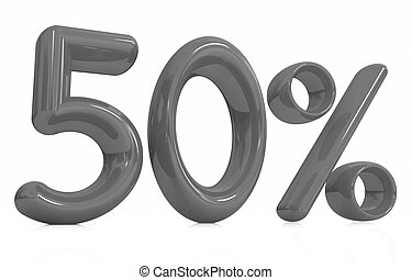 """3d red """"50"""" - fifty percent"""