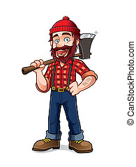 Lumberjack - lumberjack holding an axe over his shoulder...