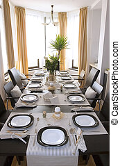 Interior view of Diningroom - Dining room table elegantly...