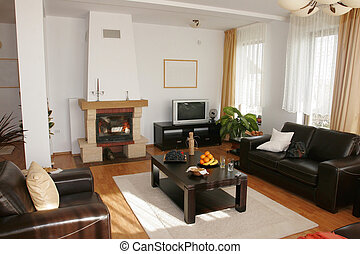 Home interior - livingroom - Home interior with fireplace...